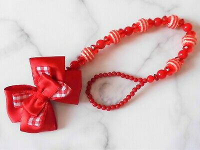 NEW STYLE Red Stripe Check Shamballa Romany Crystal Bling Baby dummy clip chain