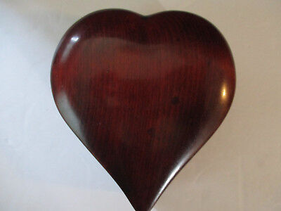Vintage Heart Shaped Wooden Trinket Box with Gold Satin Lining--Hand Made
