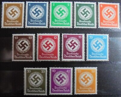 GERMANY Third Reich 1934 Officials, Swastika, Complete Set of 12 m/h (2 MNH)