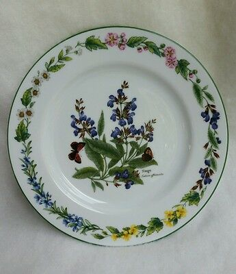 "Royal Worcester Worcester Herbs 8 1/4"" Salad Plate Botanical Flowers"