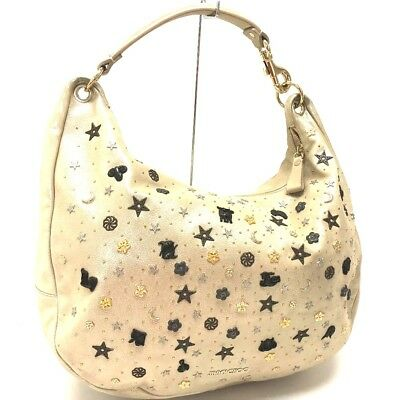 842250bdf7 AUTHENTIC JIMMY CHOO Constellation Star Studs Leather Tote Shoulder Bag Gold