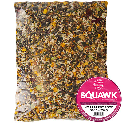 SQUAWK Premium Parrot Food - High Energy Nutritious Bird Nuts Seeds Oats Feed