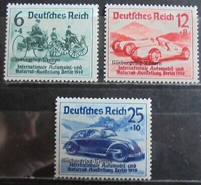 GERMANY Third Reich 1939 Nurburgring Races, Overprint, Complete Set of 3 m/h