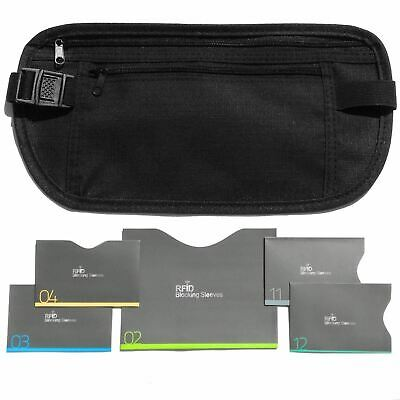 Travel Goodies Money Belt For Travel with RFID Blocking Sleeves Daily Use Black