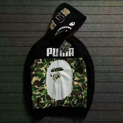 7bdeae648fd6 Hot Sale Unisex Bape Hoodie leopard X Shark Jaw Design A Bathing Ape Camo  Jacket