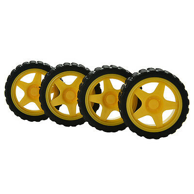 Wonderful 4X Smart Car Model Robot Plastic Tire Wheel 65x26mm for Arduino UULK