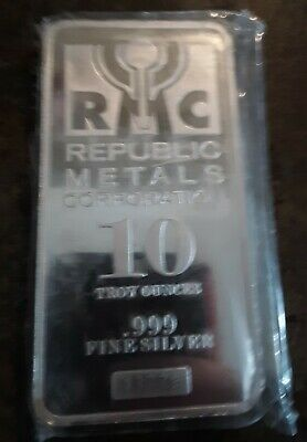 10 Troy Ounces - Republic Metals - RMC - Silver Bar .999 Fine Silver