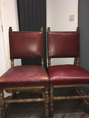 Pair Of Antique Victorian Oak Dining Chairs