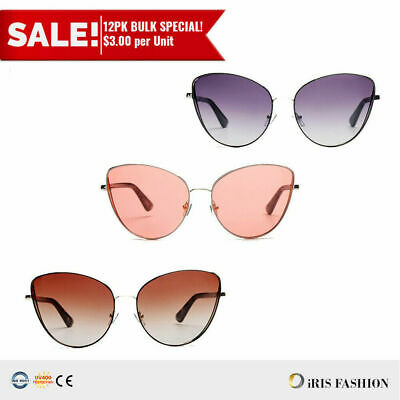 45e873ba12e4 BULK 12PC Women Sunglasses Minimalistic Metal Cat Eye OVERSIZED Lens Frame  Gafas