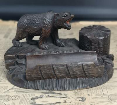 Antique black forest bear figural inkwell, limewood desk tidy