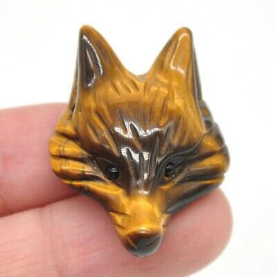 Fox Head Pendant Yellow Tiger Eye Quartz Crystal Healing Stone Carving Necklace