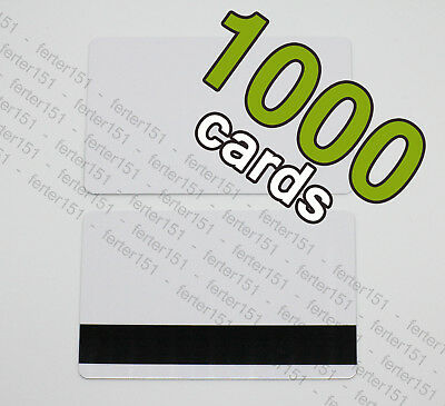 1000 White PVC Plastic Bank Credit Cards HiCo Magnetic Stripe 3 Track - CR80