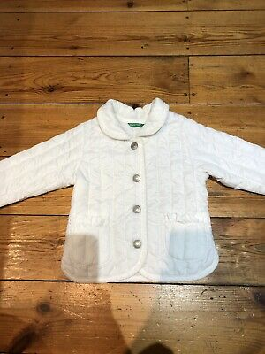 United Colors Of Benetton Baby Girls White Quilted Coat Age 3-6 Months