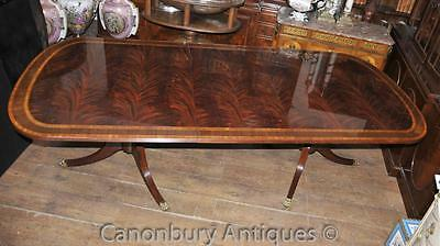 Regency Dining Table - Extending Pedestal Flame Mahogany English