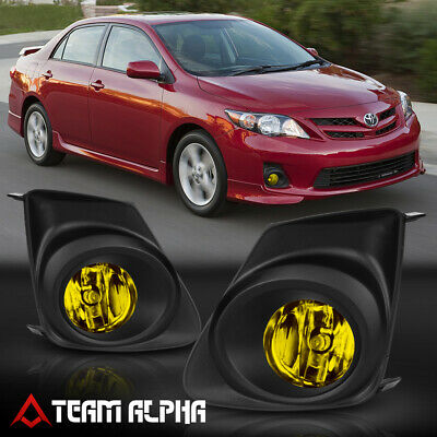 Fits 2011-2013 Toyota Corolla [Yellow] Bumper Fog Light Lamp w/Switch+Wire+Bezel