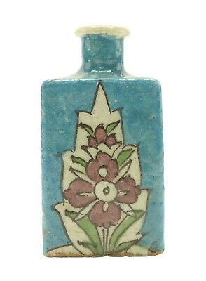 Persian-Armenian Triangle Turquoise Pottery Flask