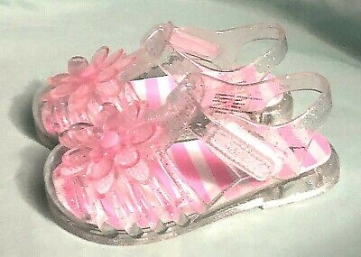 a0487231d409 Wonder Nation Toddler Girls Jelly Sandals Clear With Pink Flower Size 10 NEW
