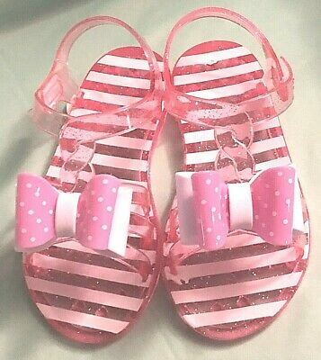 6d8c02ee9511 Wonder Nation Toddler Girls Jelly Sandals Pink and White With Bow Size 11  NEW