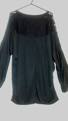 Women's Black, Long Sleeve Top with Lace Shoulders - Size 2XL