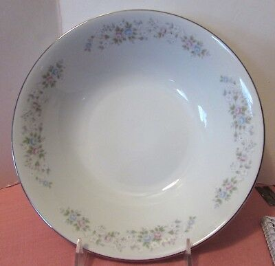 "Carlton Corsage Dinnerware 9 1/4"" Vegetable Bowl #481 Moss Roses Platinum Trim"