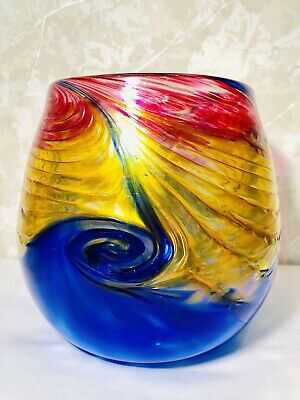Beautiful Vintage Hand Blown Art Glass Vase By Ron Hinkle 2006
