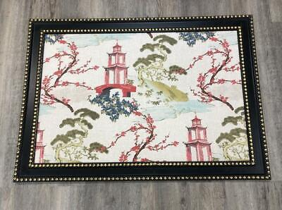Asian Chinese Pagoda Framed Fabric Art Wall Hanging Chinoiserie Decor Gold Black
