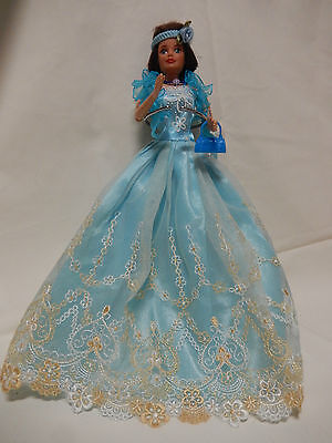 Barbie Doll Clothes-Lovely Blue dress,shoes,hair band,jewellery purse,shawl