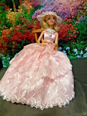 Barbie Doll Clothes - Pink Outfit w/ dress,shoes,hat, jewellery