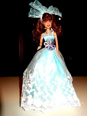 Barbie Doll Clothes-Lovely Blue dress,shoes,hair decoration, jewellery