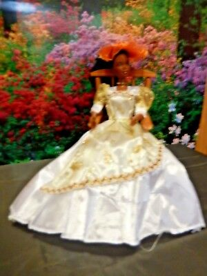 Barbie Doll Clothes - White and Gold Outfit with dress,shoes,Hat, jewellery