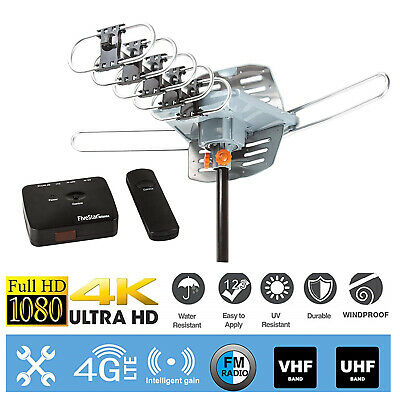 TV HDTV 1080P Outdoor Antenna Amplified Motorized HD 36dB UHF VHF FM 150 Miles