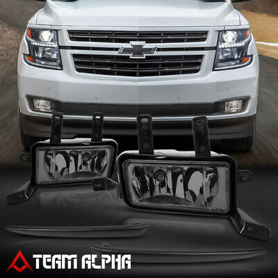 Fits 2015-2020 Chevy Suburban/Tahoe[Smoke]Black Trim Fog Light w/Switch+Harness
