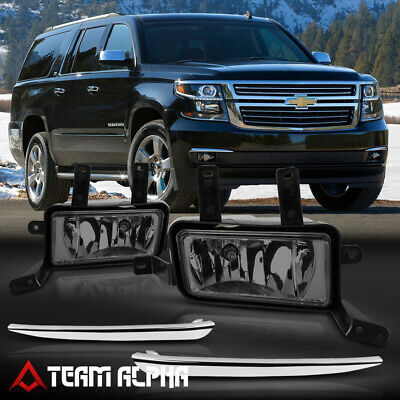 Fits 2015-2020 Chevy Suburban/Tahoe[Smoke]Chrome Trim Fog Light w/Switch+Harness