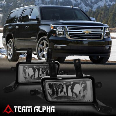 Fits 2015-2020 Tahoe/Yukon/Suburban[Smoke]Bumper Fog Light Lamp w/Switch+Harness
