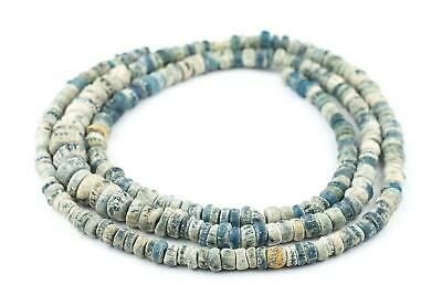 Ancient Djenne Nila Blue Glass Beads Long Strand 10mm Mali African Disk Handmade