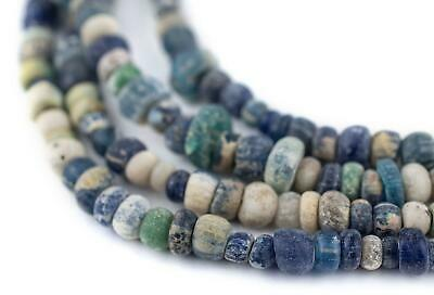 Blue & White Ancient Djenne Nila Glass Beads 6mm Mali African Multicolor Seed