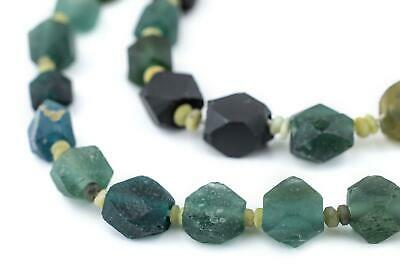 Diamond Cut Ancient Roman Glass Beads 9mm Afghanistan Green Faceted Large Hole