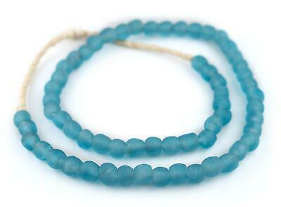 Grey Mist Recycled Glass Beads 11mm Ghana African Sea Glass Round Large Hole