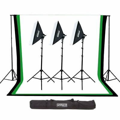 Fovitec Complete Photography & Videography Studio Kit w/ 10'x12' Muslin Backdrop