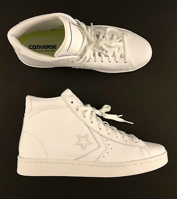 c0d3494b870284 Converse Pro Leather 76 Mid All Star Triple White Casual Shoe (155335C)  Size 9