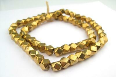 Jumbo Brass Diamond Cut Beads 9mm Faceted Large Hole 24 Inch Strand