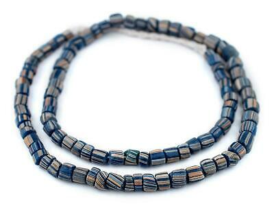 Ancient-Style Cobalt Java Gooseberry Beads 6-8mm Indonesia Multicolor Cylinder