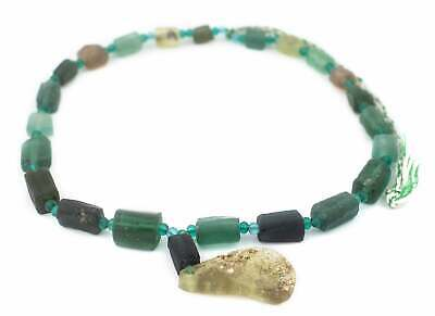 Rectangular Ancient Roman Glass Beads Dark 11mm Afghanistan Green Rectangle