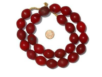 Red Tomato Beads 25x20mm Ethiopia African Oval Glass 28 Inch Strand Handmade