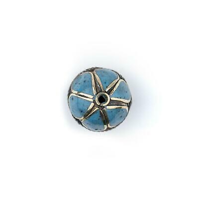 Turquoise-Inlaid Afghan Tribal Silver Bead 25mm Afghanistan Blue Round