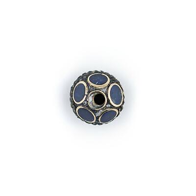Lapis-Inlaid Afghan Tribal Silver Bead 16mm Afghanistan Blue Round White Metal