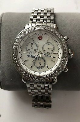 Nice And Clean Michele Csx 360 Mother Of Pearl 100 Diamonds Chronograph Watch