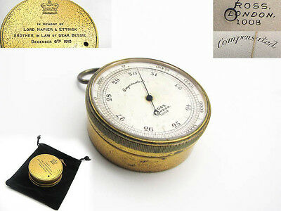 1913 Ross pocket barometer with Lord Napier of Merchistoun inscription