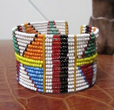 BANGLE Vintage African CUFF Glass Seed Trade Bead BRACELET Tribal Ethnic Gift
