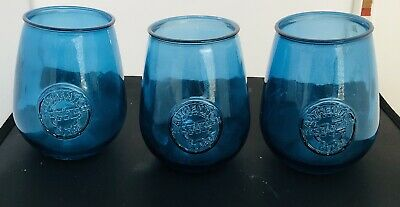3 Vidrios San Miguel Authentic Recycled Blue Glass Drink Tumblers Made In Spain